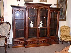 American Victorian Renaissance Revival Walnut Bookcase