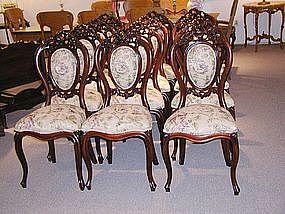 Twelve Mahogany Rococo Dining Room Chairs