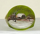 Green Enamel Art Glass Box