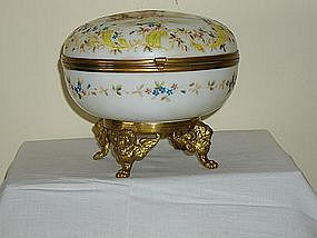 Vintage Large Handpainted Round Hinged Glass Box