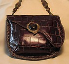 MAYA'S BROWN LEATHER ALLIGATOR PATTERNED PURSE