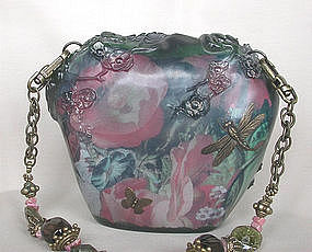 MAYA GREEN FLORAL AND DRAGONFLY PURSE