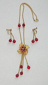 MIRIAM HASKELL RED GLASS BEADS NECKLACE AND EARRINGS