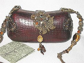 COCO BROWN SNAKESKIN PURSE BY MAYA