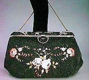 Beaded Bag with Petit Point & Enamel