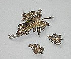 EARLY TRIFARI STERLING CLIP AND EARRINGS