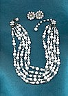 MIRIAM HASKELL WHITE NECKLACE AND EARRINGS