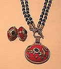 PATRICE RED CHINESE DRAGON NECKLACE AND EARRINGS