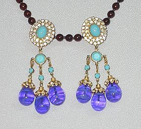SAPPHIRE AND TURQUOISE COLORED EARRINGS BY deLILLO