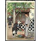 Exceptional Elizabeth Keith Woodblock Print - Black & White-Kyoto