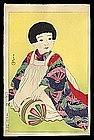 Early Hasui Woodblock - Child & Ball