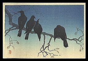 Hiroaki Woodblock from Muller Estate - Crows