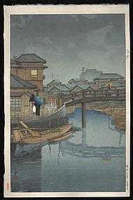 Hasui Woodblock - Rainy Season - Shinagawa