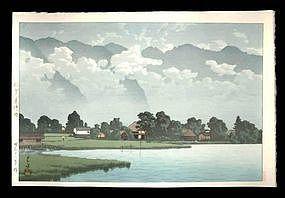Hasui Woodblock - Lake Kizaki in Rain Shinshu
