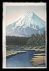 Hasui Woodblock - Mt. Fuji Seen from Oshino