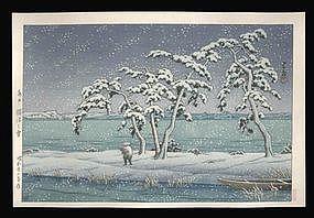 Hasui Woodblock - Snow at Hinuma Swamp. Mito