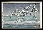 Hasui Woodblock - Snow at Hinuma Swamp. Mito
