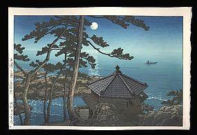 Hasui Woodblock - Full Moon at Izu-ura