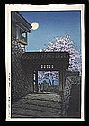 Hasui Woodblock - Cherry Blossom and Moon