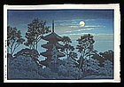 Hasui Woodblock - Night at Hommonji Temple