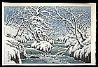 Ito Takashi Woodblock - Oirase in Winter