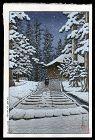 Hasui Woodblock - Konjikido in Snow