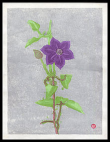 Rare and Early Azechi Woodblock - Floral Design