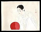 Rare Korean Beauty Woodblock by Shuho