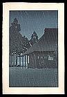 Early Edition Hasui Woodblock � Night Rain