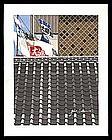 Roof and FlagsWoodblock by Jun'ichiro Sekino