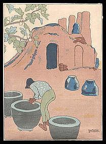 Early Taisho Woodblock: Pots and Kiln by Goro