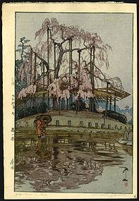 Original Hiroshi Yoshida Woodblock - Yozakura in Rain