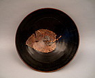 A Rare Song Black Glazed Conical Bowl With Leaf