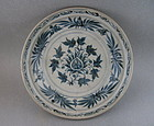 A Large B/W Annamese Dish With Flower Design