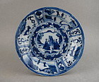 A Rare Ming Dynasty Kraak B/W Dish With Figures