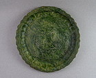 A Rare Green Glaze Dish With Molded of a Pair Phoenix