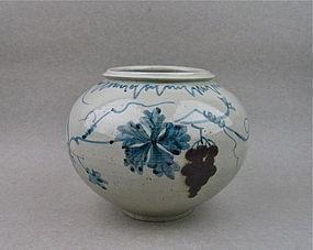 Rare Korean Underglazed Blue & Red With Grapevine Jar