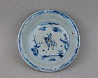 A Middle Ming Dynasty B/W Saucer Dish With Horse Rider