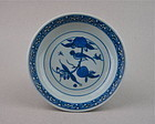 Good Quality Painted Ming 16th Century B/W Saucer Dish