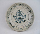 ANNAMESE BLUE & WHITE DISH 15TH/16TH CENTURY