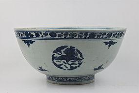 A RARE EXAMPLE OF MING JIAJING B/W LARGE BOWL (diameter: 29 cm)