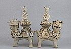 RARE PAIR SONG JIZHOU WARE OF BOY & GIRL SITTING ON LION 'FU' DOG