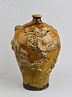 RARE BROWN/AMBER GLAZE MEIPING WITH RELIEF OF THREE DRAGONS
