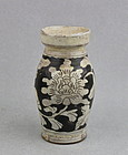 A YUAN/MING DYNASTY CIZHOU WHITE ON BLACK BOTTLE VASE