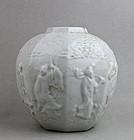 QING DYNASTY DEHUA WARE WHITE GLAZED JAR WITH 8 IMMORTALS