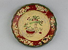 A LATE MING DYNASTY POLYCHROME DISH