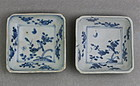 A PAIR OF LATE MING B/W SQUARE SMALL DISH