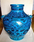 A MAGNIFICENT UNDERGLAZED BLUE DRAGONS ON PEACOCK-BLUE GROUND JAR