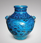 MAGNIFICENT UNDERGLAZE BLUE DRAGONS & PEONY JAR ON TURQUOISE GROUND