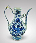 EXTRAORDINARY YUAN DYNASTY B/W EWER WITH PHOENIX (PERFECT CONDITION)